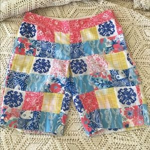LILLY PULITZER PATCHWORK EMBROIDERED SHORTS SZ 2